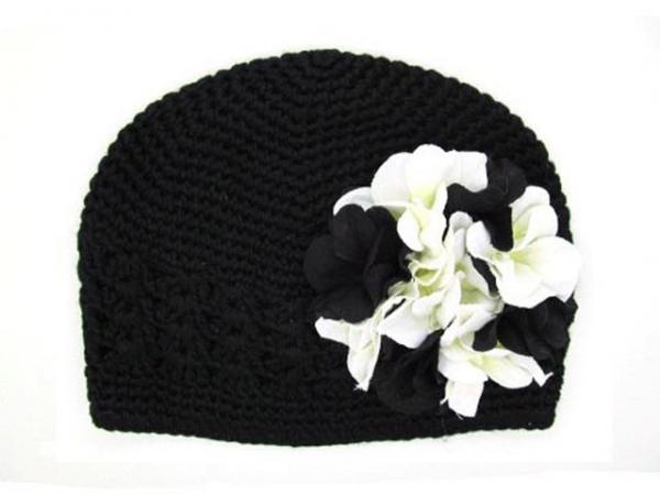 Black Crochet Hat with Black White Large Geraniums