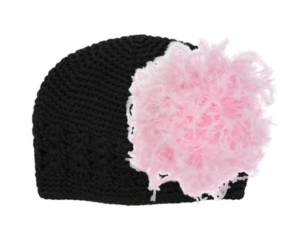 Black Crochet Hat with Candy Pink Large Curly Marabou