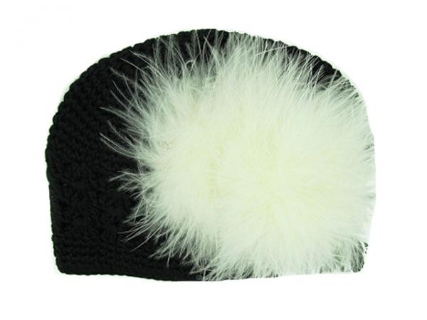 Black Crochet Hat with Cream Large regular Marabou