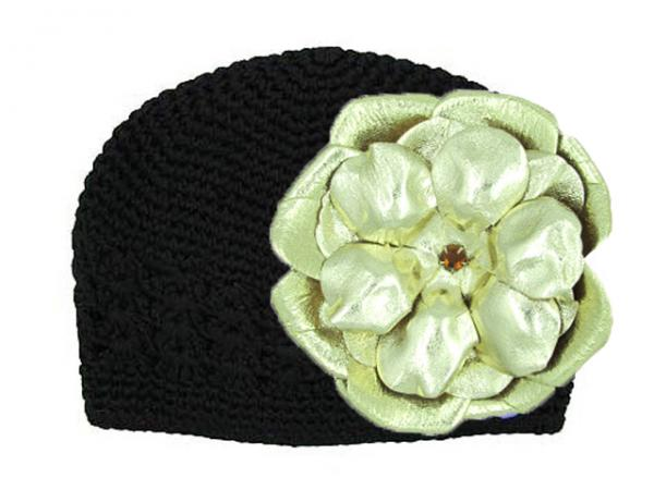 Black Crochet Hat with Metallic Gold Rose