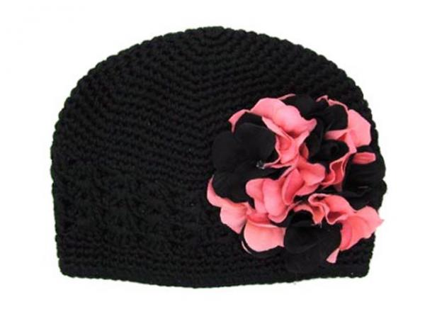 Black Crochet Hat with Pink Black Large Geraniums