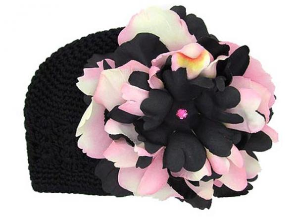 Black Crochet Hat with Pink Black Large Peony