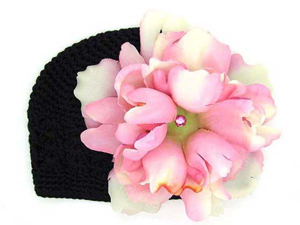 Black Crochet Hat with Pale Pink Large Peony