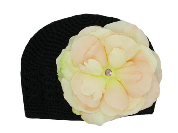 Black Crochet Hat with Pale Pink Large Rose