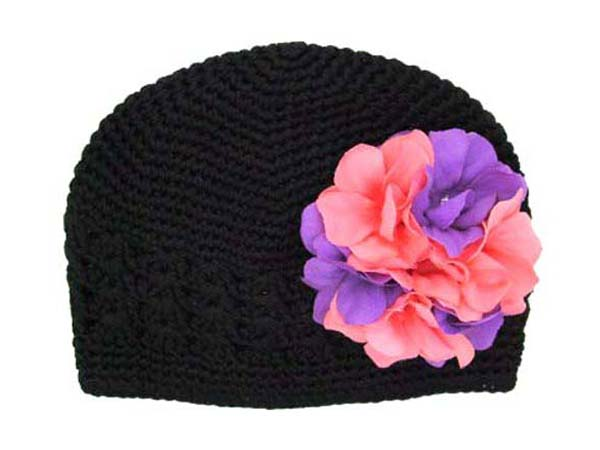 Black Crochet Hat with Purple Pink Large Geraniums