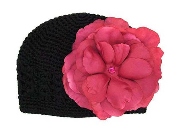 Black Crochet Hat with Raspberry Large Rose
