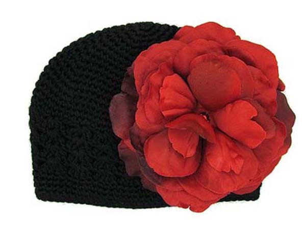 Black Crochet Hat with Red Large Rose