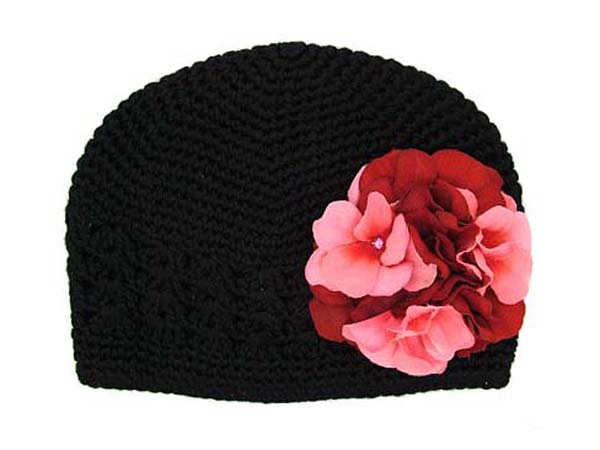Black Crochet Hat with Red Pink Large Geraniums