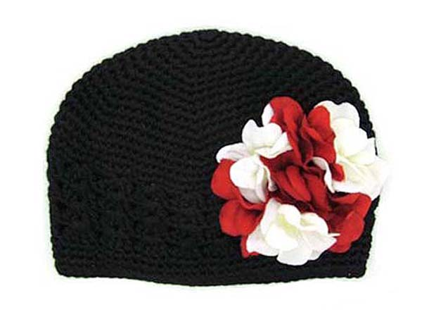 Black Crochet Hat with Red White Large Geraniums