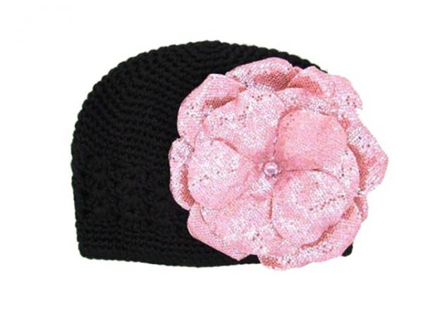 Black Crochet Hat with Sequins Pale Pink Rose