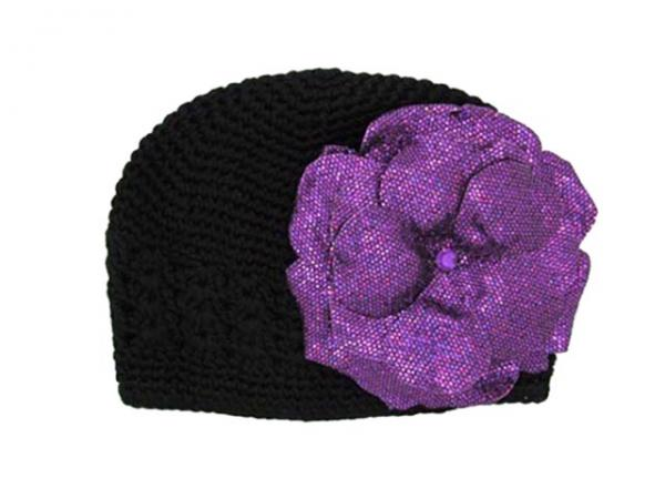 Black Crochet Hat with Sequins Purple Rose