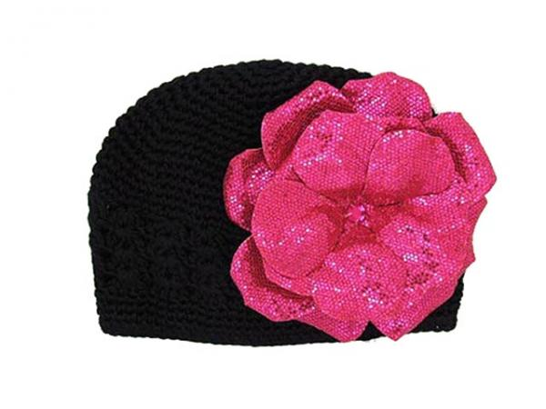 Black Crochet Hat with Sequins Raspberry Rose
