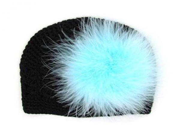 Black Crochet Hat with Teal Large regular Marabou