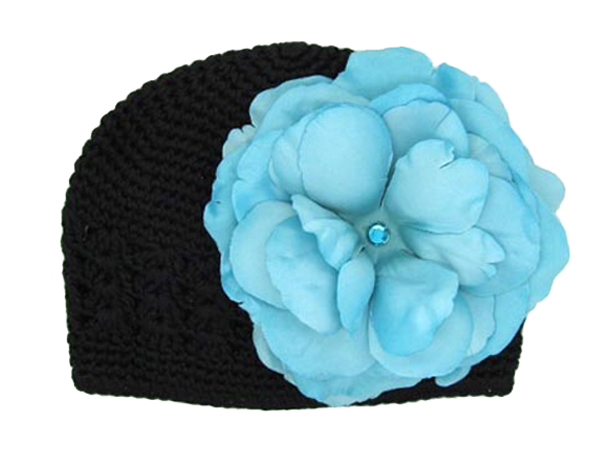 Black Crochet Hat with Teal Large Rose