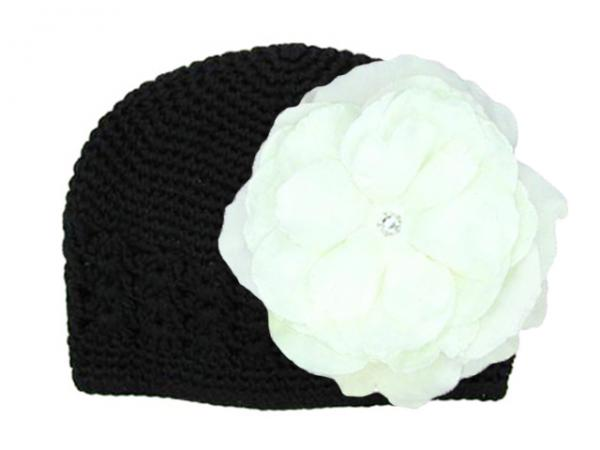 Black Crochet Hat with White Large Rose