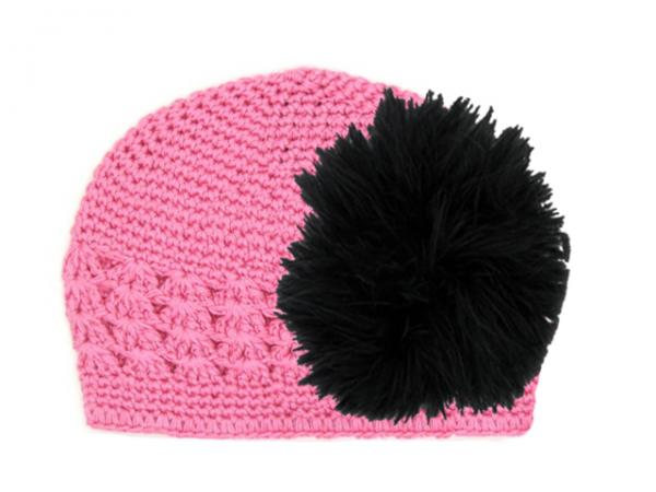Candy Pink Crochet Hat with Black Large regular Marabou
