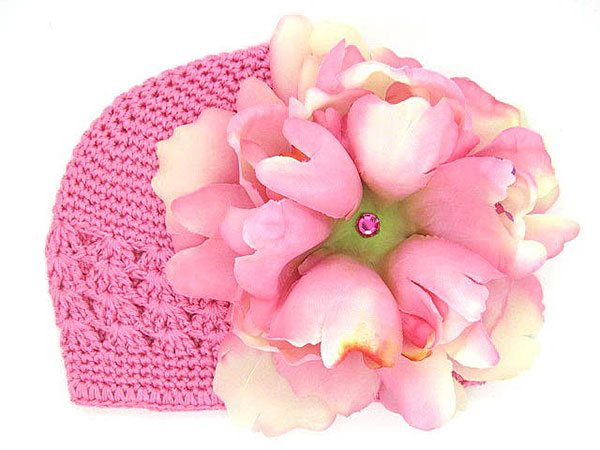 Candy Pink Crochet Hat with Candy Pink Large Peony