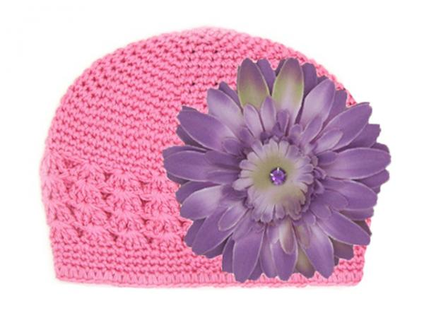 Candy Pink Crochet Hat with Lavender Daisy