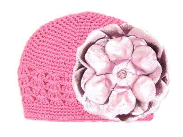 Candy Pink Crochet Hat with Metallic Pale Pink Rose