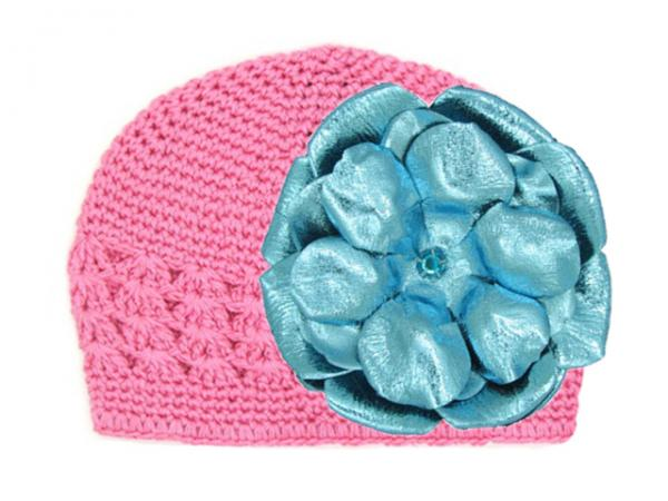Candy Pink Crochet Hat with Metallic Teal Rose