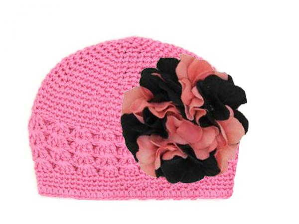 Candy Pink Crochet Hat with Pink Black Large Geraniums