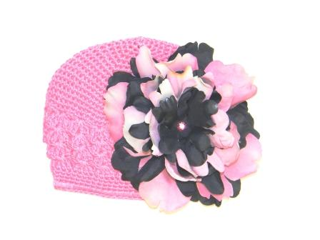 Candy Pink Crochet Hat with Pink Black Large Peony