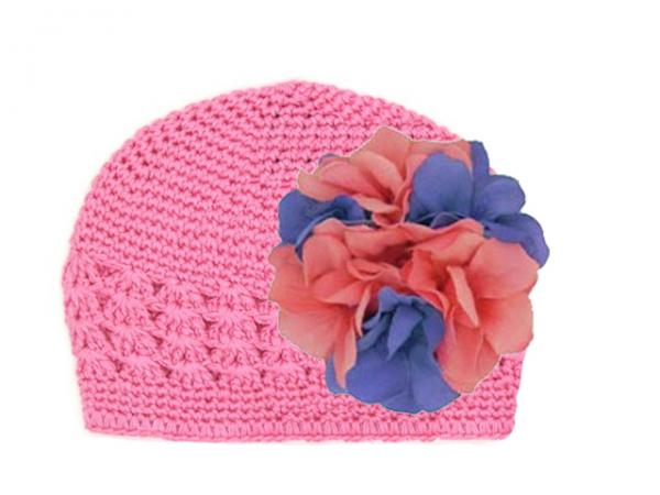 Candy Pink Crochet Hat with Pink Lavender Large Geraniums