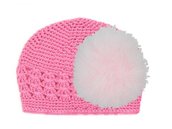 Candy Pink Crochet Hat with Pale Pink Large regular Marabou