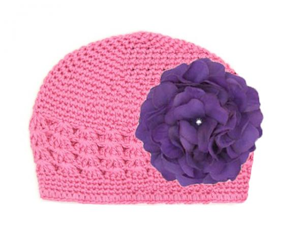 Candy Pink Crochet Hat with Purple Large Geraniums