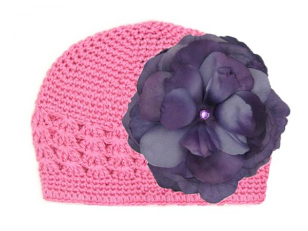 Candy Pink Crochet Hat with Purple Large Rose