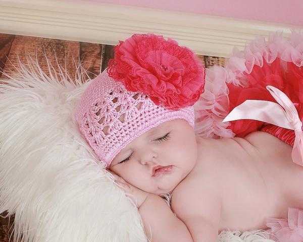 Candy Pink Crochet Hat with Raspberry Lace Rose