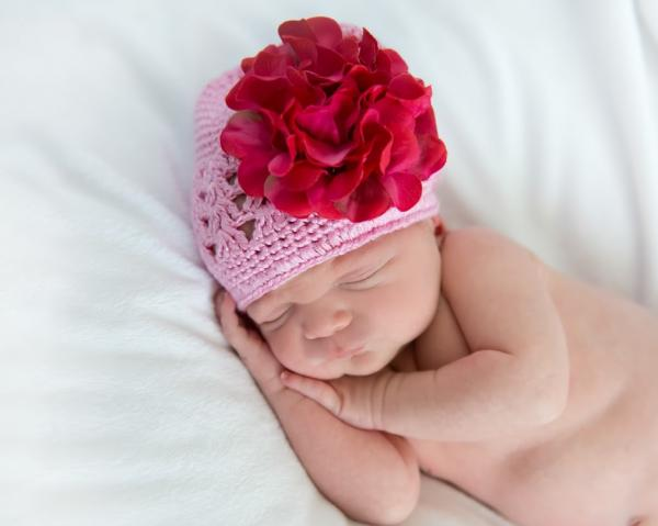 Candy Pink Crochet Hat with Raspberry Large Geraniums