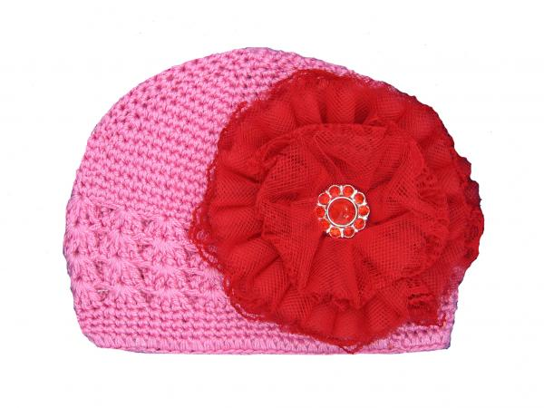 Candy Pink Crochet Hat with Red Lace Rose