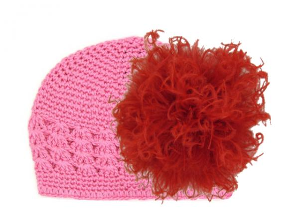 Candy Pink Crochet Hat with Red Large Curly Marabou
