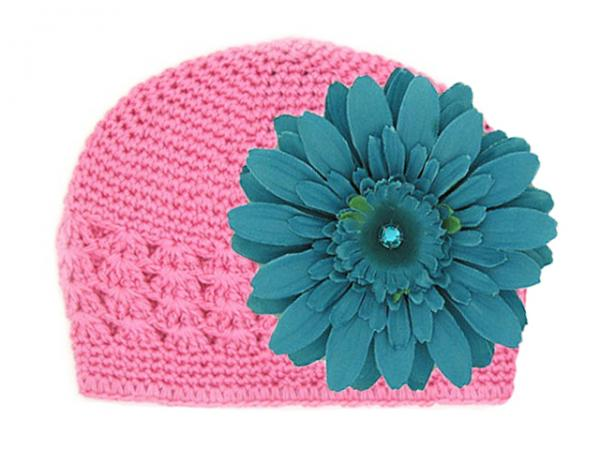 Candy Pink Crochet Hat with Teal Daisy