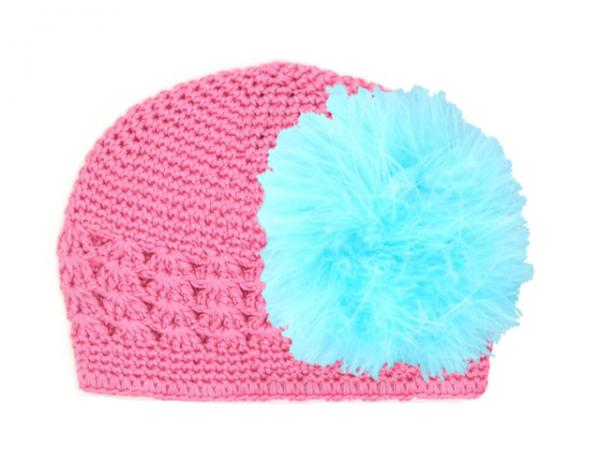Candy Pink Crochet Hat with Teal Large regular Marabou