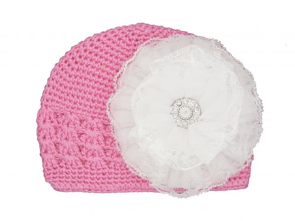 Candy Pink Crochet Hat with White Lace Rose