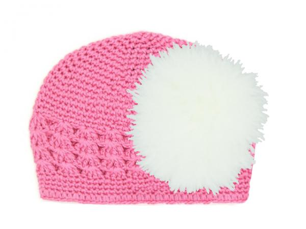 Candy Pink Crochet Hat with White Large regular Marabou