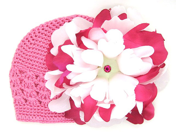 Candy Pink Crochet Hat with White Raspberry Large Peony