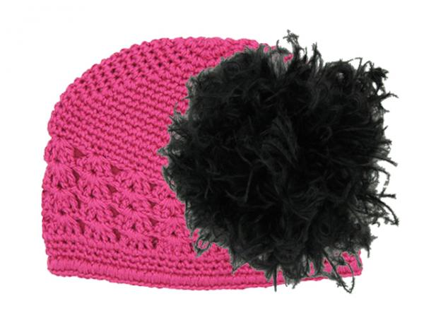 Raspberry Crochet Hat with Black Large Curly Marabou