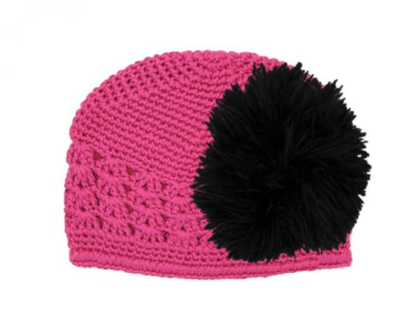 Raspberry Crochet Hat with Black Large regular Marabou