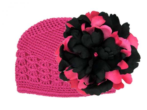 Raspberry Crochet Hat with Black Raspberry Large Peony