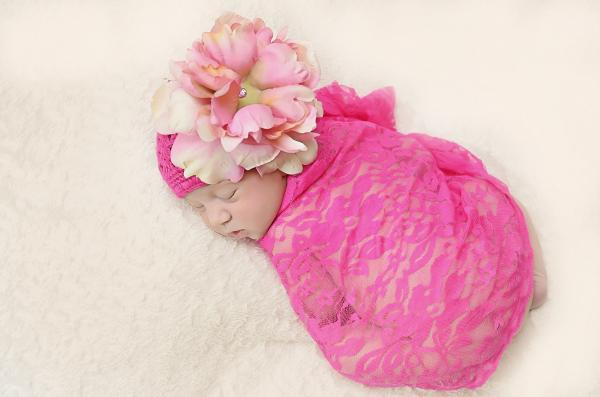 Raspberry Crochet Hat with Candy Pink Large Peony