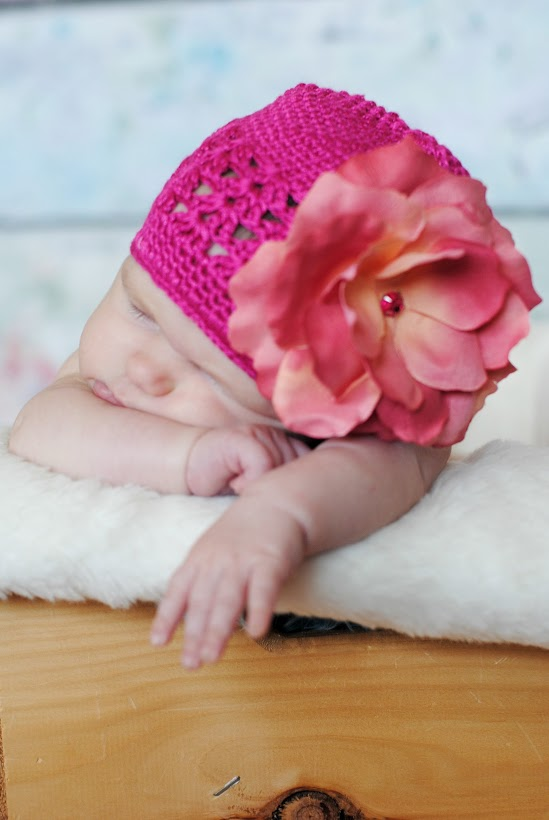 Raspberry Crochet Hat with Candy Pink Large Rose