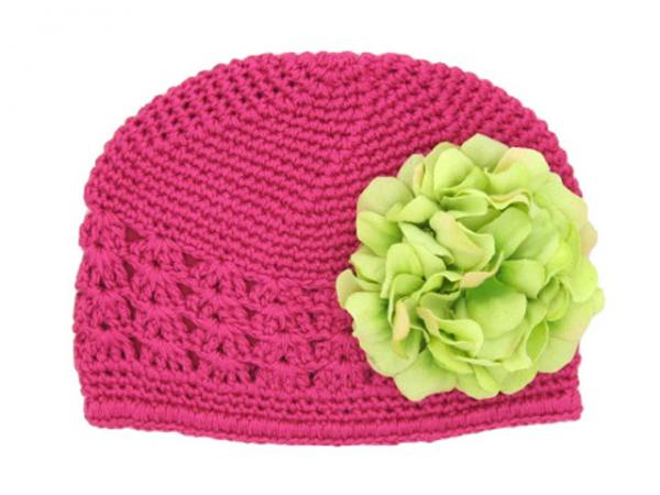 Raspberry Crochet Hat with Green Large Geraniums