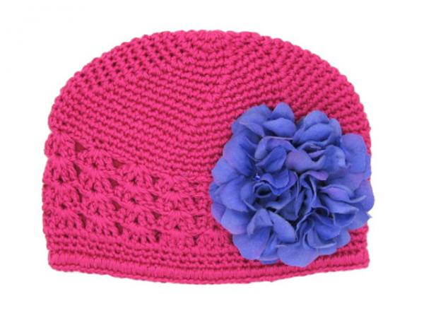 Raspberry Crochet Hat with Lavender Large Geraniums