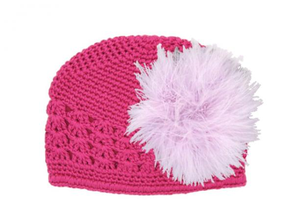 Raspberry Crochet Hat with Lavender Large regular Marabou