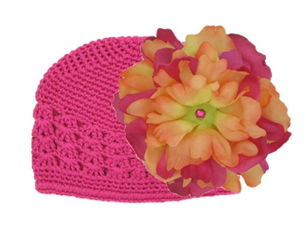 Raspberry Crochet Hat with Orange Raspberry Large Peony