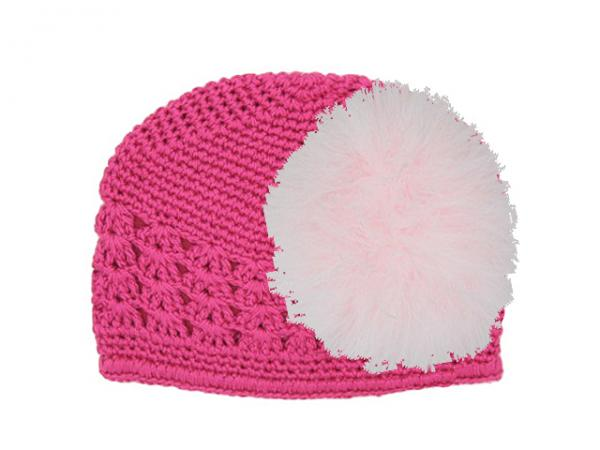 Raspberry Crochet Hat with Pale Pink Large regular Marabou