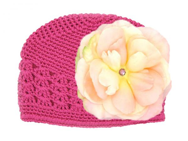 Raspberry Crochet Hat with Pale Pink Large Rose